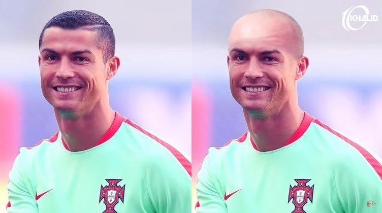 Máquina zero? Jogadores ficam carecas em montagens. Na foto, Cristiano Ronaldo.