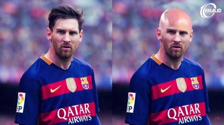 Máquina zero? Jogadores ficam carecas em montagens. Na foto, Lionel Messi.