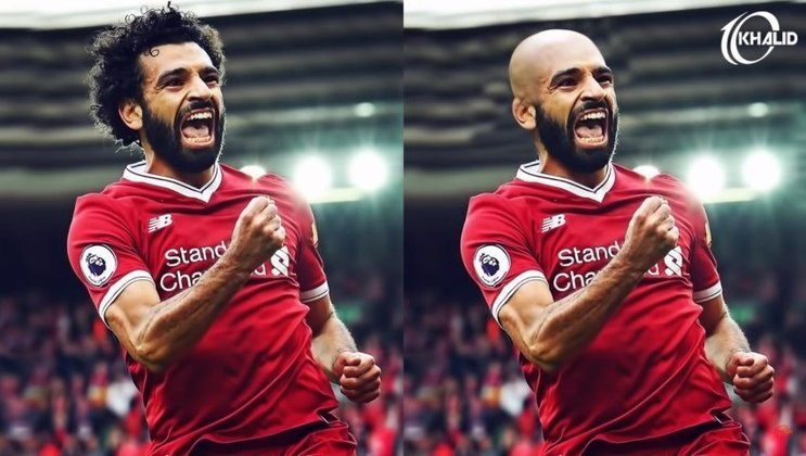 Máquina zero? Jogadores ficam carecas em montagens. Na foto, Mohamed Salah.