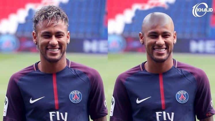 Máquina zero? Jogadores ficam carecas em montagens. Na foto, Neymar.