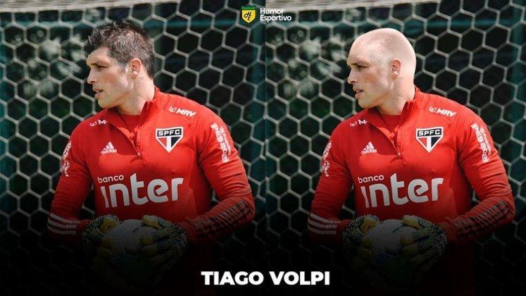 Máquina zero? Jogadores ficam carecas em montagens. Na foto, o goleiro Tiago Volpi.