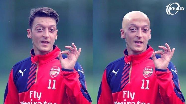 Máquina zero? Jogadores ficam carecas em montagens. Na foto, Özil.