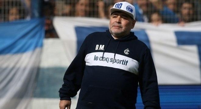 Maradona no primeiro treino do Gimnasia La Plata