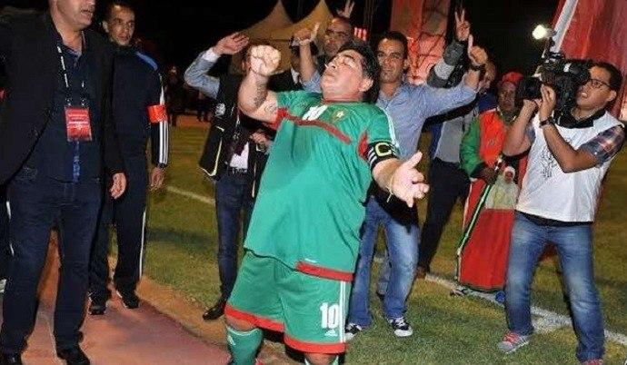 Maradona aceitava convites remunerados de toda parte do mundo. Desta vez, no Marrocos