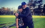 Na foto, Maradona está com o neto mais velho Benjamin Agüero, filho de Dalma com o atacante do Manchester City, Kun Agüero