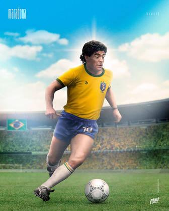 Maradona, ídolo na Argentina, com a camisa da Seleção Brasileira.