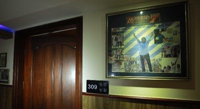 Maradona ficou hospedado na suíte 309 do hotel e tudo está preservado