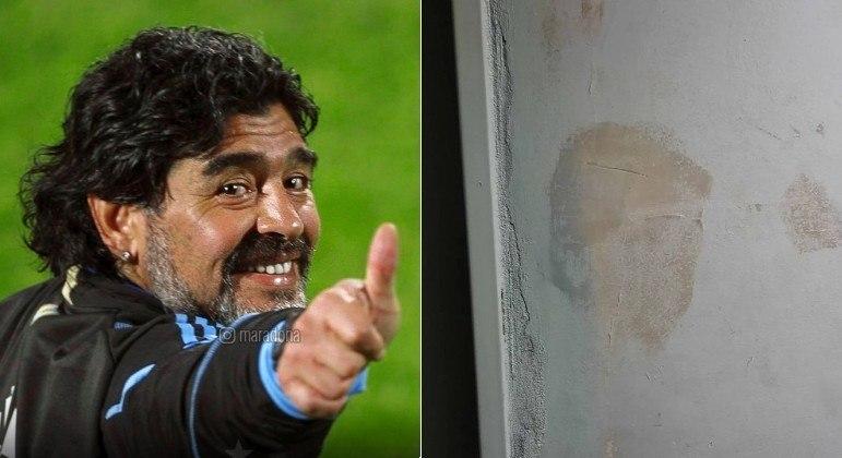 Reprodução de Maradona foi vista na mancha de umidade de uma parede e viralizou