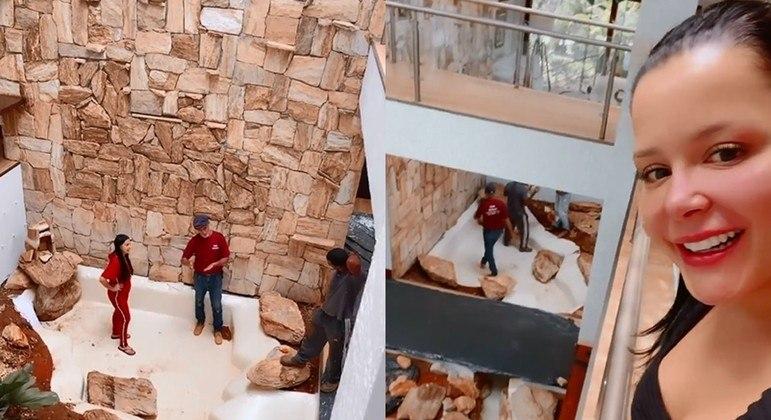 Nos vídeos, que foram compartilhados no Instagram, a sertaneja mostrou funcionários na obra