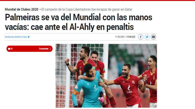 Marca - O tradicional jornal espanhol destacou o Palmeiras deixando o Mundial de 'mãos vazias'.