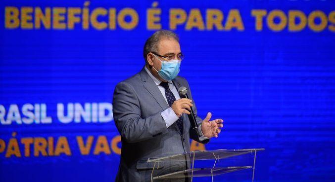 O ministro da Saúde, Marcelo Queiroga, durante evento