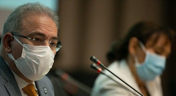 O ministro da Saúde, Marcelo Queiroga, em reunião em Brasília