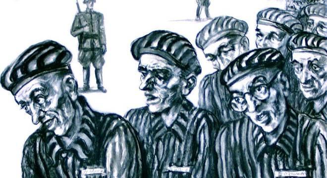 """Obra """"Marcha forçada dos prisioneiros carregando tijolos"""""""