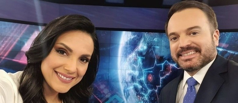 "Márcia Dantas e Marcelo Torres, os apresentadores do ""SBT Brasil"" no último sábado"
