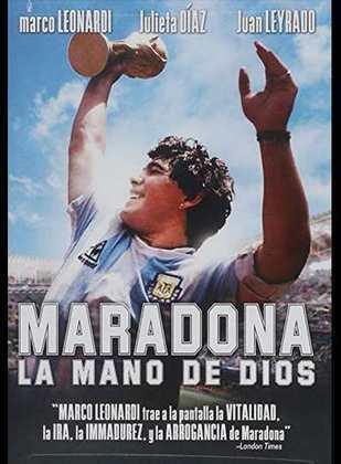 Marco Leonardi interpreta Maradona no filme 'La mano de Dios' (2007), mostrando desde sua infância até seu primeiro ataque cardíaco, além do seu auge como estrela internacional do futebol.