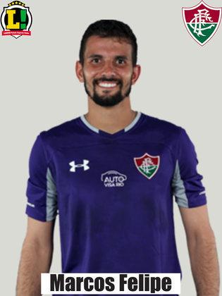 Marcos Felipe - 6,5 - O goleiro do Fluminense não teve muito trabalho durante a partida e, quando exigido, fez boas defesas no gol tricolor. Mostrou dificuldade nas saídas de bola com o pé.