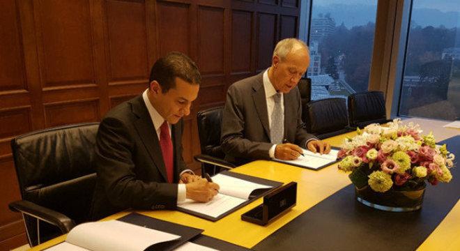 Marcos Pereira com Francis Gurry, diretor-geral da OMPI, em Genebra