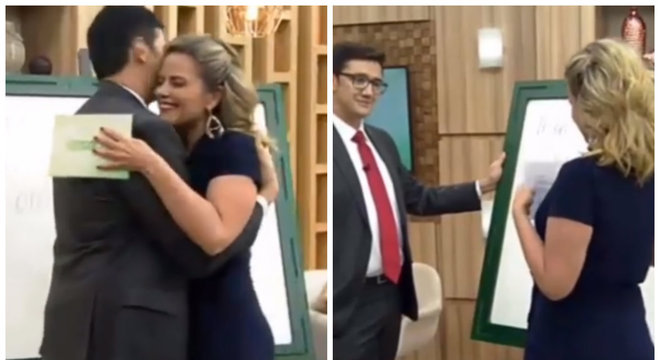 Momento em que Mauro Calil surpreendeu a apresentadora com pedido de namoro