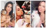 Maria Clara gosta de postar fotos com os cachorrinhos de estimação: ela tem três