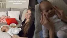 Após morte do filho, noiva de Whindersson surge segurando bebê