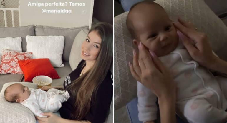 Maria Lina Deggan visita filha de amiga, Isabela Matte
