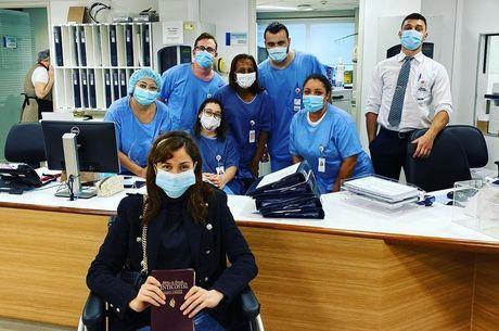 Maria Melilo minutos antes de deixar o hospital