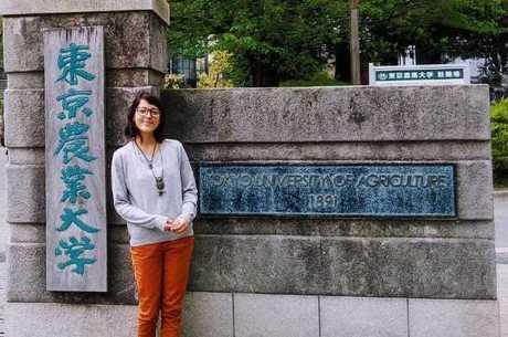 Mariana durante intercâmbio em Tóquio
