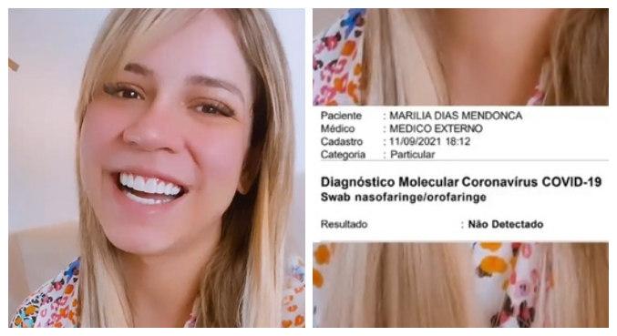 Marília Mendonça exibiu teste negativo de covid-19