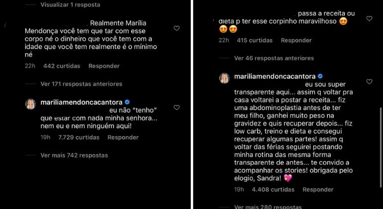Marília Mendonça rebate comentário de seguidora
