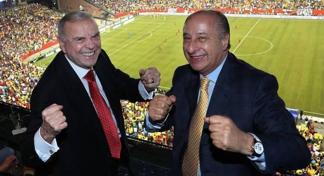 A alegria de Marin e Del Nero na Copa do Mundo. Depois, banidos do futebol