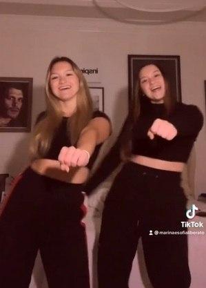Marina e Sofia dançaram funk na web
