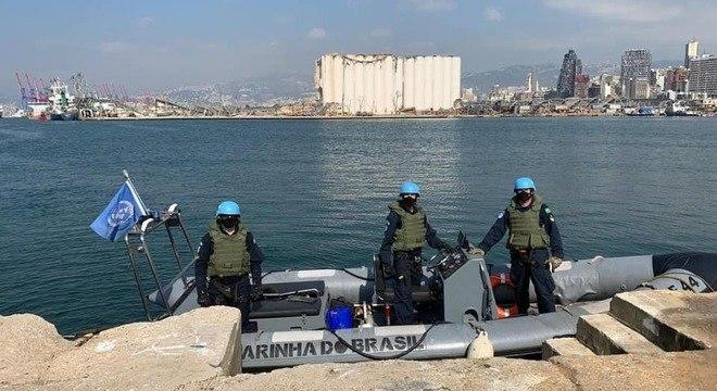 Marinha do Brasil em ação na região do porto de Beirute, no Líbano, atingida pela explosão