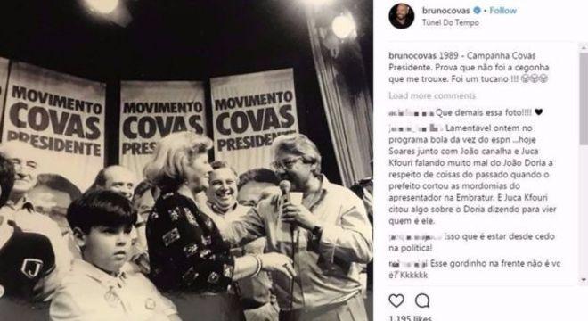 'Não foi uma cegonha que me trouxe. Foi um tucano!', brinca Bruno Covas no Instagram; fotos do avô são recorrentes na rede social