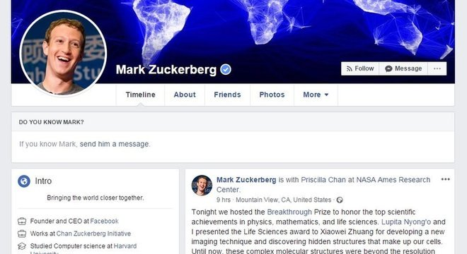 Zuckerberg não permite que pessoas lhe enviem solicitações de amizade