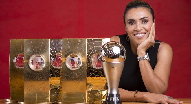 Marta e os seis troféus que ganhou de Melhor do Mundo
