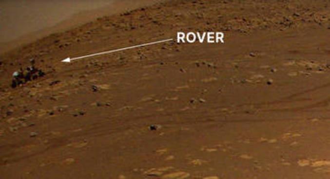 Foto tirada pelo Ingenuity em Marte