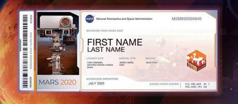Nasa irá enviar milhares de nomes para Marte em 2020
