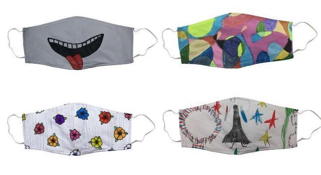 Os alunos desenham máscaras para serem vendidas
