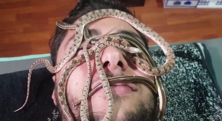 Segundo massagistas, a terapia com cobras pode ajudar na melhora de enxaquecas