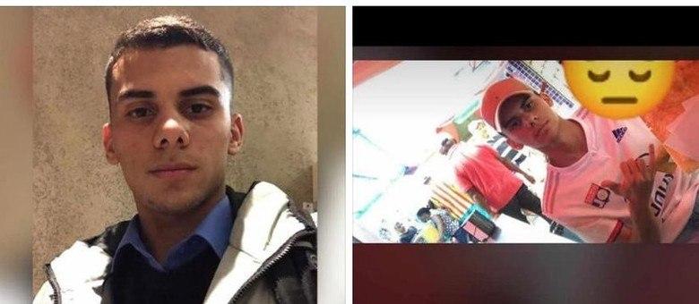um boné bege, uma blusa de time e uma calça jeans azul (esquerda) quando foi raptado
