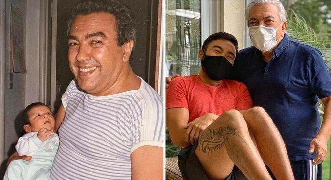 Mauricio de Sousa com o filho Mauro em montagem divertida na web