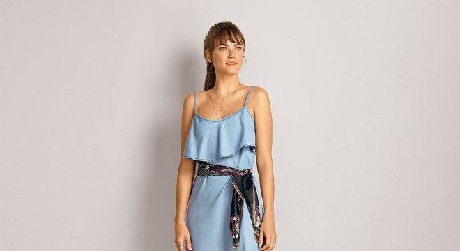 maxi vestido com lenço