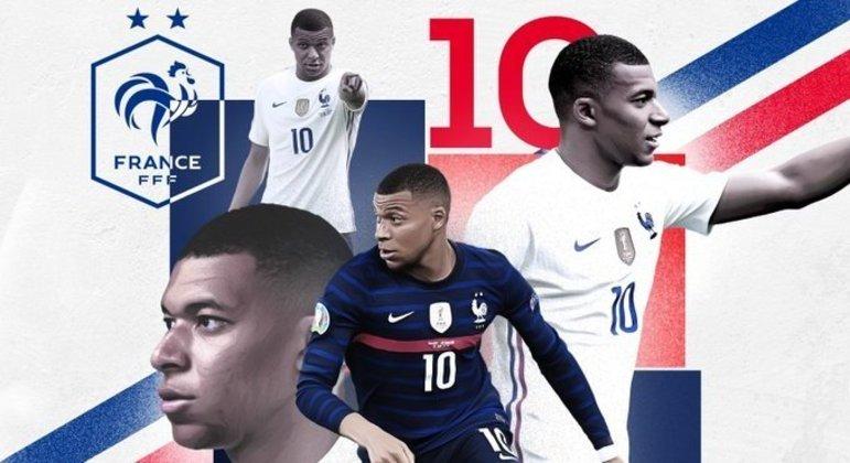 Mbappé, o craque do prélio, na capa do Twitter da seleção da França