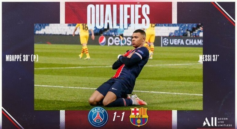 A capa do Twitter do PSG, com destaque para o artilheiro Mbappé