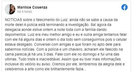 Amiga de Luiz Carlos confirmou morte do ator na web