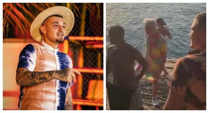 Fotos e vídeos do cantor com influencers no litoral viralizaram na web