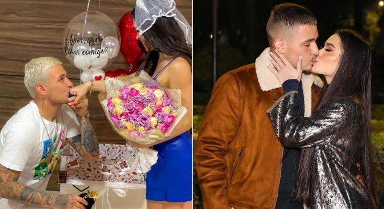 MC Gui e Beatriz Michelle, de 23 e 20 anosO funkeiro e a influenciadora ficaram noivos recentemente. O cantor preparou uma surpresa para pedir a mão da então namorada.
