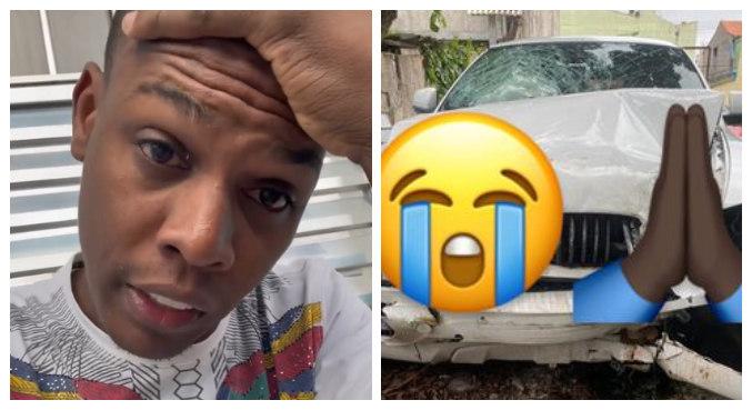 MC Kekel exibiu como ficou o carro após acidente