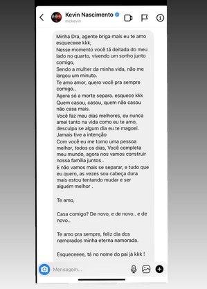 Print divulgado por Deolane mostra mensagem de MC Kevin