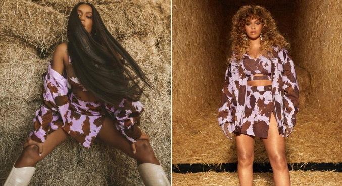 MC Rebecca e Beyoncé usando o mesmo look da coleção da norte-americana